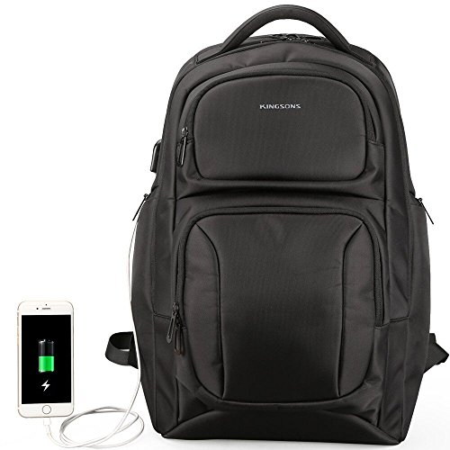 Large Laptop Backpack,Travel Laptop Backpacks with USB Charging Port for Women & Men,TSA Water Resistant Big Business College School Bookbag,Anti Theft Computer Backpack Fits 17 Inch Notebook,Black
