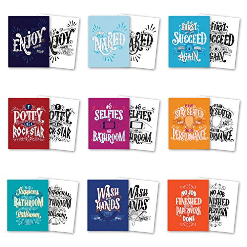 Palace Learning Bathroom Decor - Set of 9 Funny Bathroom Quotes and Sayings - Double Sided - Wall Art Prints - Toilet Humor - Unframed (CARDSTOCK, 8 x 10) ()