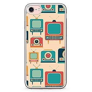 Loud Universe iPhone 8 Plus Transparent Edge Case - Vintage Retro Pattern Telecast