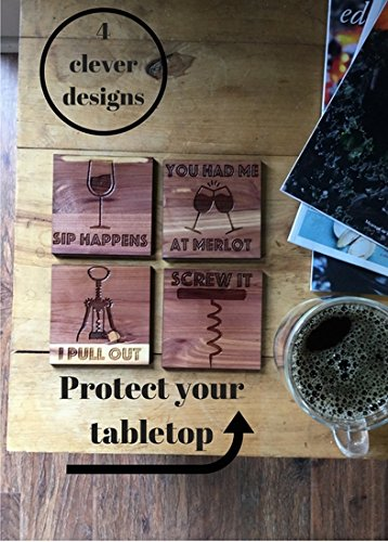 (Funny Wine Theme Wood Coasters | Set of 4 | Square Vino Glass Holder | Wine Rack Table Protection |)