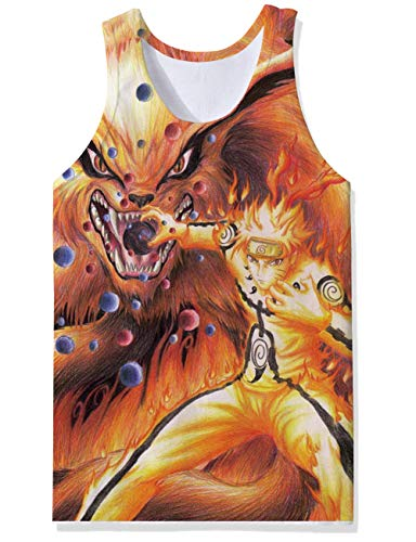 Sports Casual Styles Tank Tops Gold Uzumaki Naruto Nine-Tailed Fox Purple Red Balls Custom Patterned Cut Off Undershirt Vest Retro Tight Compression Wife Beater for Party