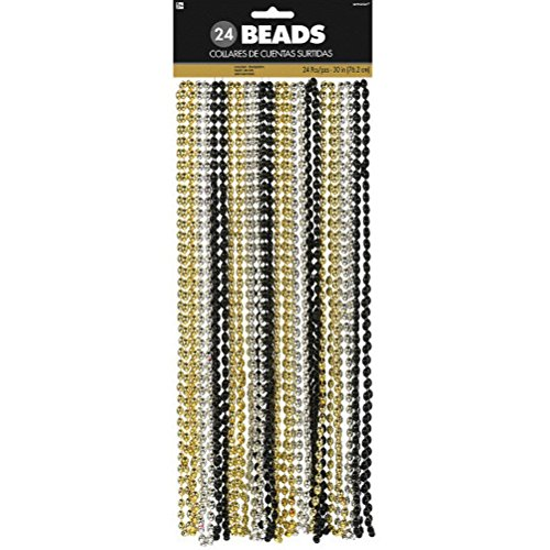 Amscan Chic Plastic Bead Necklace (24 Count) Party Supplies, Black/Silver/Gold, 30