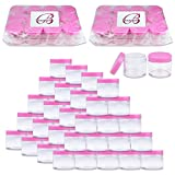 Beauticom 60 Grams/60 ML (2 Oz) Round Clear Leak Proof Plastic Container Jars with Pink Lids for Travel Storage Makeup Cosmetic Lotion Scrubs Creams Oils Salves Ointments (384 Jars)