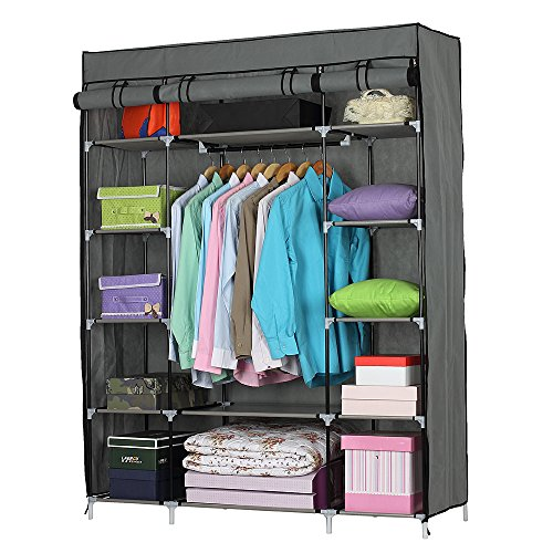 Lovinland Portable Closet Wardrobe 5 Layer Clothes Organizer Metal Shelf Cabinet with Non-Woven Cover