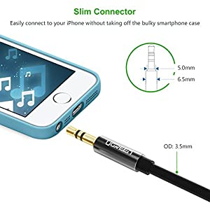 UGREEN 3.5mm Male to Female Extension Stereo Audio Extension Cable Adapter Gold Plated Compatible for iPhone, iPad or Smartphones, Tablets, Media Players
