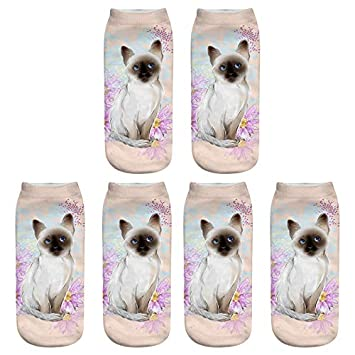 Scrox 3 Pares Calcetines para Hombre,Mujer y Niño 3D Lindo Gatos Patrón Animales Socks Unisex Casual Piso Calcetines Modernos Originales y Deportivos (#11): ...