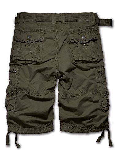"URBANCREWS Mens Hipster Hip Hop 8 Pocket Floral Cargo Shorts ARMYGREEN 32"" WAIST"