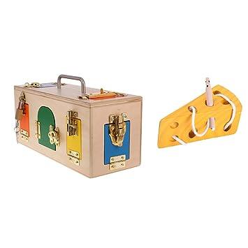 perfeclan Juguete Infantil Queso Enlazado de Madera + Caja de Cerradura de 10 Tipos de Metal, Juego Intelectual para Niños: Amazon.es: Juguetes y juegos