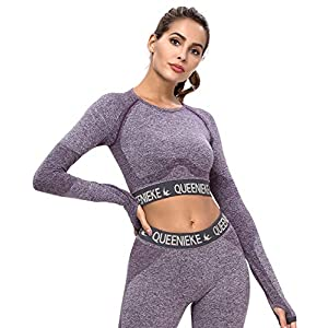 QUEENIEKE T-Shirt a Maniche Lunghe da Donna con Top Sportivo Senza Cuciture