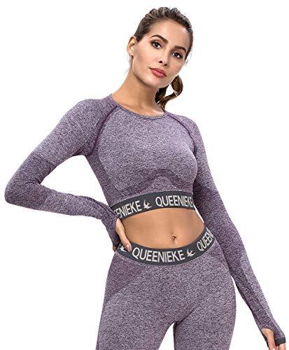 QUEENIEKE Sport T-Shirts für Damen Langarm Crop Top Seamless Fitness Oberteile(91125)