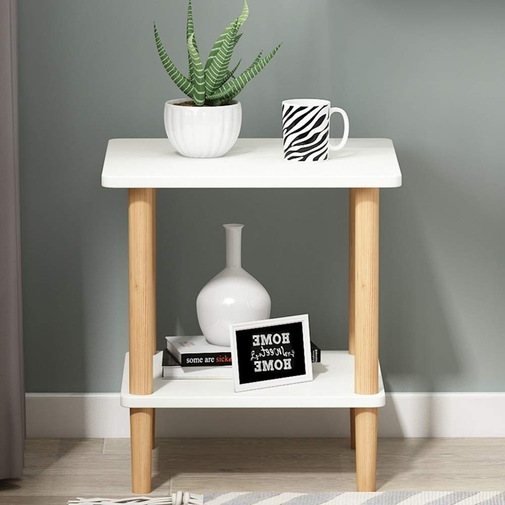 LQQGXLBedside Table Bedside Table Nordic Simple Modern Solid Wood Economy Personality Bedroom Multi-Function Locker Small Side Table (Color : White) by LQQGXL