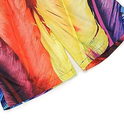 TRENTON Men's Swimming Trunks Feather Printed Quick-Dry Beach Half Pants Shorts Swimwear