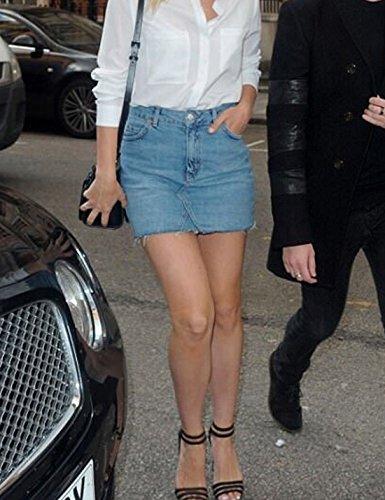 Claires Jupes Taille Bleues Slim Jean Bodycon Haute Les Jean Femmes Jupe Naliha en Court Frange wOqY6Xc1
