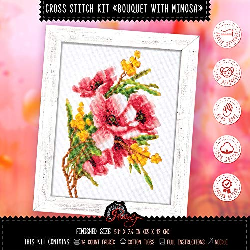 Flower Embroidery Kit 'Bouquet with Mimosa' | DIY Cross Stitch Set for Engagement, Graduation, Mother's Day - Bouquet Mimosa