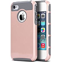 iPhone 4 Case, iPhone 4S Case,4S Case,ULAK Dual Layer Hybrid Slim Hard Case with Hard PC Cover and Soft Inner TPU for iPhone 4S 4(Rose Gold/Grey)