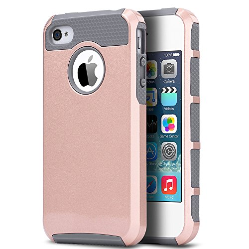 ULAK iPhone 4 Case, iPhone 4S Case,4S Case, Dual Layer Hybrid Slim Hard Case with Hard PC Cover and Soft Inner TPU for iPhone 4S 4(Rose Gold/Grey)