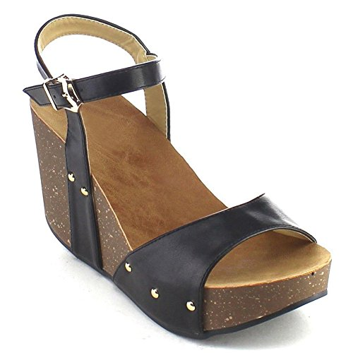 ShoBeautiful Women's Platform Wedges High Heel Sandals Wide Band Ankle Strap Slingback Buckle Studs Peep Toe Comfort Fashion Dress Summer Shoes MR06 Black 9