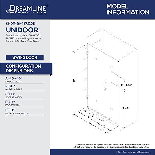 DreamLine Unidoor Min 45 in. to Max 46 in. Frameless Hinged Shower Door in Brushed Nickel finish, SHDR-20457210S-04