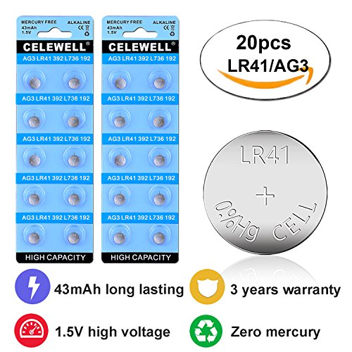 CELEWELL 43mAh LR41 AG3 Watch Toy LED Battery with 3 Years Warranty as 392 384 Laser Pointer 1.5V Alkaline Coin Button Cell 20 Pack Lr41 Coin Cell
