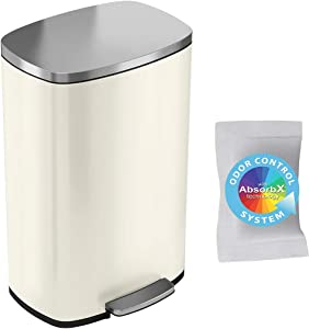 iTouchless SoftStep 13.2 Gallon Stainless Steel Step Pedal Garbage Can with with Odor Control System, 50 Liter Trash Bin for Kitchen, Office, Home - Silent and Gentle Open and Close, Ivory White