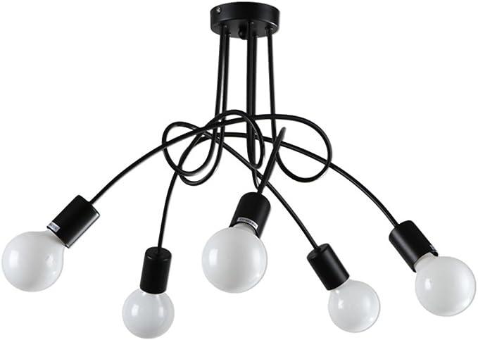 Hermoso Lámpara de Techo LED Combinación de 8 Faros Restaurante Bar cafetería Sala de Billar Internet Cafés Accesorios de iluminación Generoso (Color : Negro): Amazon.es: Hogar