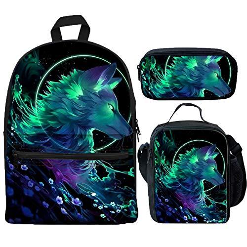 LedBack 3D Forest Wolf Printed School Backpacks for Kids Boy Girls Lightweight Backpack Bookbags Set