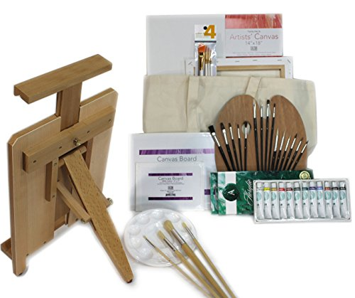 45 PC Ultra Portable Heavy Duty Table Easel with Acrylic Painting Set by Online Art Supplies