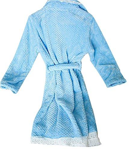 QPALZM La Sra Camisón Atractivo De Otoño E Invierno De Franela Caliente Con Cinturón Blue