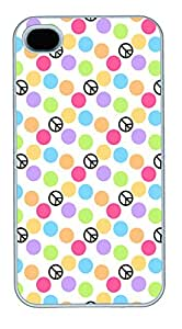 iPhone 4 4s Cases & Covers - Colorful Peace Custom PC Soft Case Cover Protector for iPhone 4 4s - White