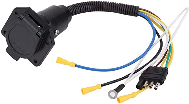 6-24V 4 Pin Flat Trailer Plug Socket Wiring Connector Adapter for Caravan Towbar Towing Trailer Adapter
