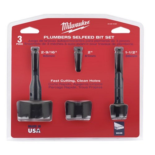 Milwaukee 49-22-0030 3-Piece Self-feed Bit Plumbers Set