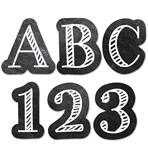 "Creative Teaching Press Chalkboard 1"" UC Letters Stickers, Black/White (2102)"