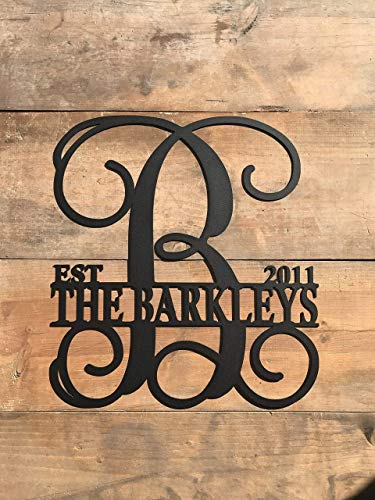 Personalized Metal Monogram Letter, Customized Door Hanger Monogram ()