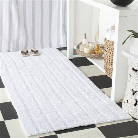 Safavieh Plush Master Bath Collection PMB720B Handmade White Cotton Bath Mat, 1 feet 9 inches by 2 feet 10 inches (1'9'' x 2'10'') (Set of 2)