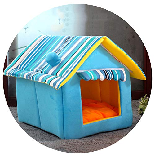 sevenTimes 4 Colors Striped Removable Cover Mat Cat Dog House Dog Beds for Small Medium Dogs Pet Products House Pet Beds for Cat,Blue,37 Cain 4 As A Cough