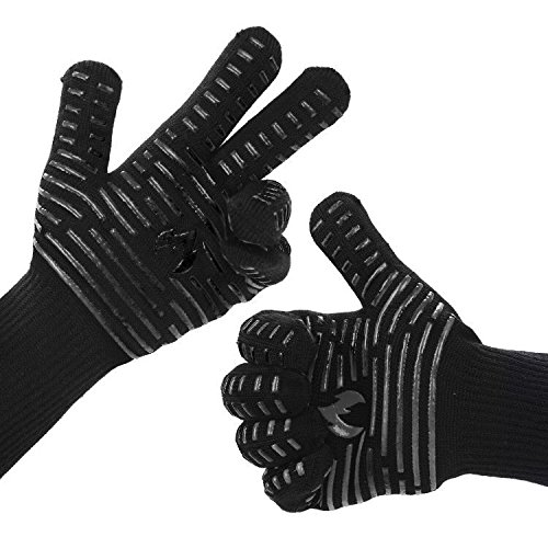 """BETLLEMORY Oven gloves,932℉ Extreme Heat Resistant BBQ Gloves Grill Gloves,13.5"""" Anti-Slip Oven mitts, Durability and Stretchy Aramid Cook&Kitchen&Industrial Heat Treatment Gloves (Black) by BETLLEMORY"""