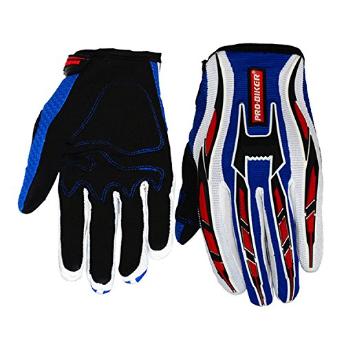 Jackey Awesome Three Colors Optional Pro-Biker Bicycle Motorcycle Motorbike Powersports Racing Gloves (XL, Suede Gloves,Blue) (Suede Unisex Glove)
