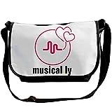 Print Fan Musically Love Canvas Crossbody Zipper Lap Top Bags