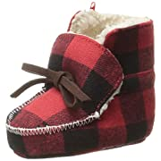 Mud Pie Baby Buffalo Check Flannel Sherpa Booties, Red, 0-6 Months