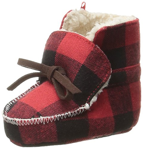 Mud Pie Baby Boys' Buffalo Check Flannel Sherpa Booties, Red, 0-6 Months