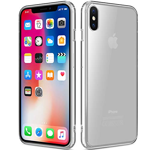 Protective Crystal Case Cover - Sankmi Compatible iPhone XS Case, Clear iPhone Xs Case Hybrid Shockproof TPU Rubber Bumper Case Durable Anti-Slip Back Hard Protective Safe Grip Cover for iPhone X/Xs - Crystal Clear