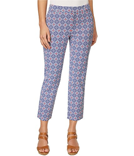 Charter Club Womens Newport Printed Slim Leg Cropped Pants Blue 10 from Charter Club