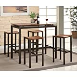 crate and barrel metal stools Coaster Home Furnishings 150097 5-Piece Casual Dining Room Set, Black