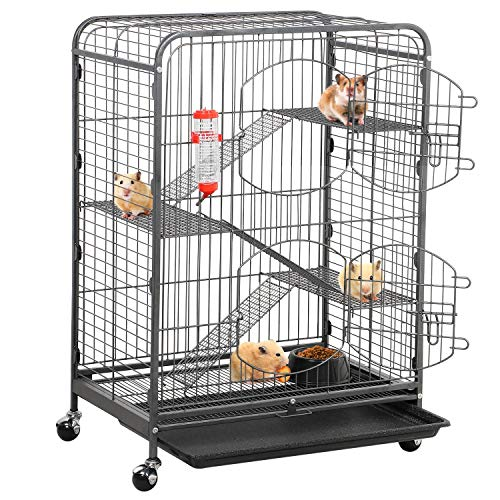 Topeakmart 4 Levels 37-inch Ferret Chinchilla Cages Small Animal Hutch for Squirrel Guinea Pig Includes 2 Front Doors Indoor Outdoor