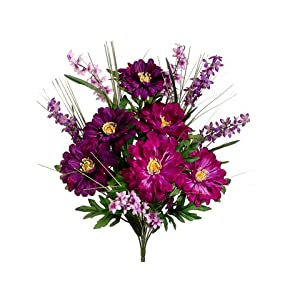 "20"" Zinnia/Bell Flower Bush x12 Purple Orchid (Pack of 12) 28"