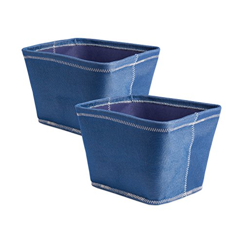 Basket Chambray Blue - DII Collapsible Polyester Storage Basket or Bins, Home Organizer Solution for Home, Office Desk, Shelf, Bedroom & Closet (Set of 2 Small Baskets - 12x10x8