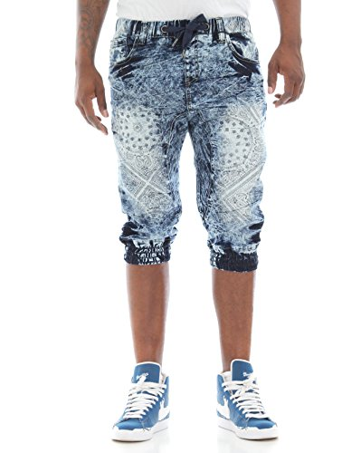 Switch Remarkable Men's Bandana Print Drop Crotch Denim Capri Jogger Pants-Acid Indigo-L
