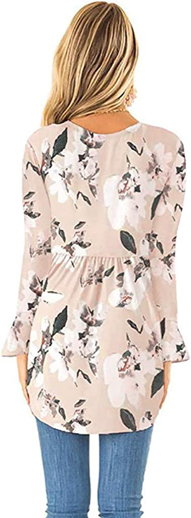 Meikosks Womens Pleated T Shirt Floral Print Long Sleeve Tops Loose Swing Blouses Pullover