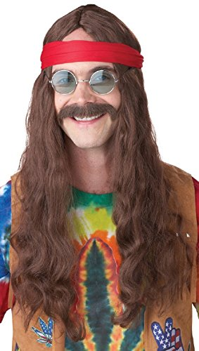 [California Costumes Men's Hippie Man Wig and Moustache, Brown, One Size] (Hippie Male Adult Costumes)