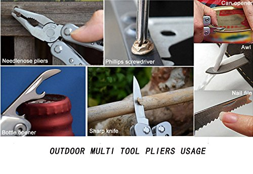 Touchshop 12 in 1 Multi Tool Pliers Portable Outdoor Folding Pocket Multitool with Nylon Sheath, Knife, Pliers, Screwdriver and More, Stainless Steel
